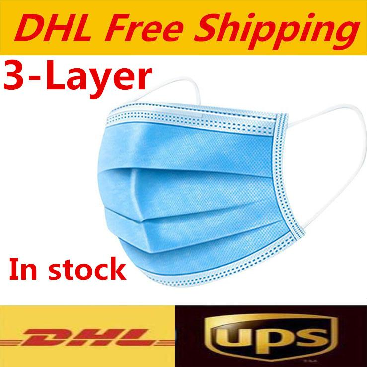 DHL-freies Verschiffen Einweg-Gesichtsmaske Schutz Earloop Elastic für Mask Sicherheit Antistaub Cotton Mouth Masken 3 Schicht Home Use Facema