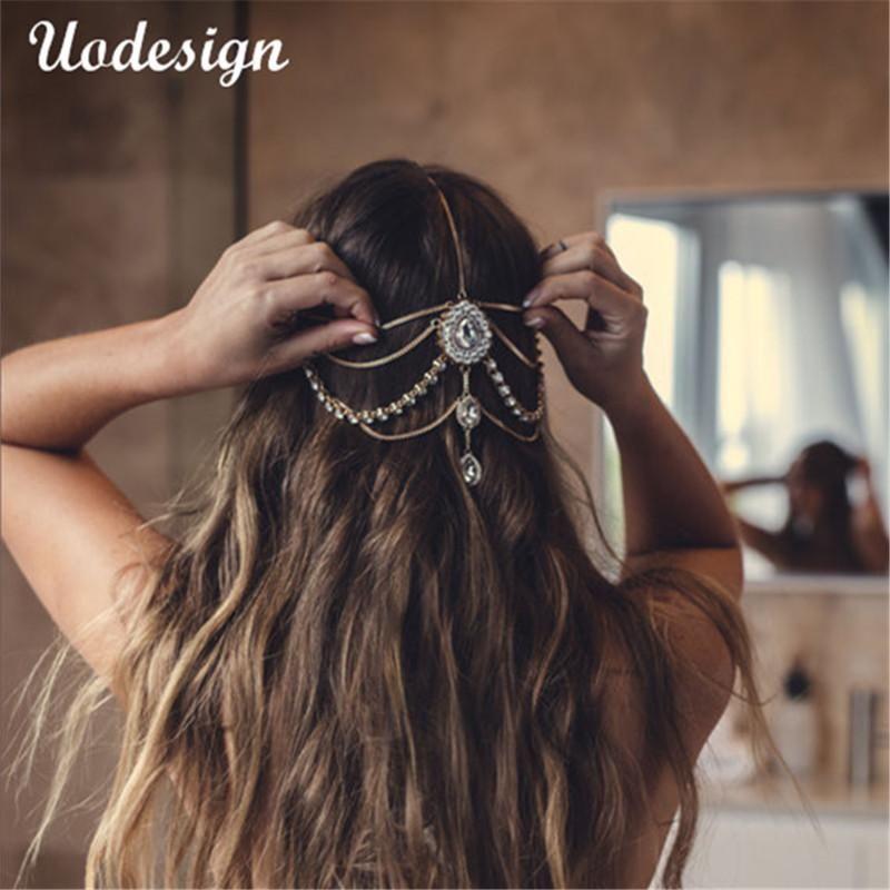 Plein cristal tête tête de mariée mariage bijoux de cheveux de bande Diamante bijoux, cadeau d'anniversaire de la chaîne de tête boho T200522