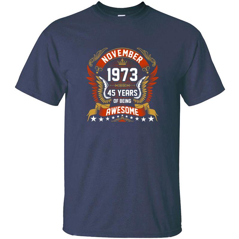 Lustig November 1973 45 Jahre ehrfürchtig Shirt Mann Brief nette runde Kragen-Kleidung-Jungen-Mädchen-T-Shirts Big Size 3xl 4xl 5xl