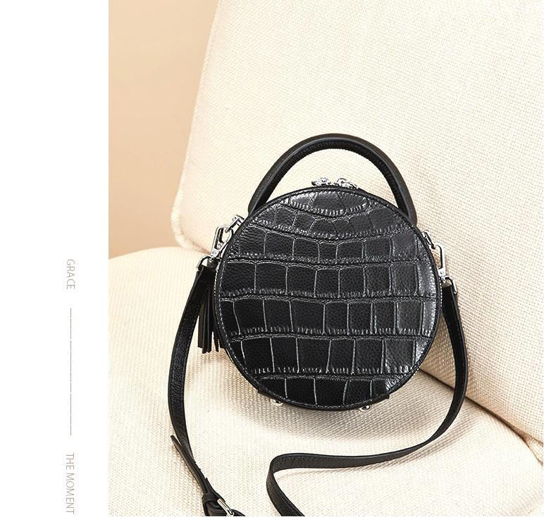 H17 Nalandu Fashion handbag 2020 new fashion small round bag women's slung leather crocodile pattern black handbag trend