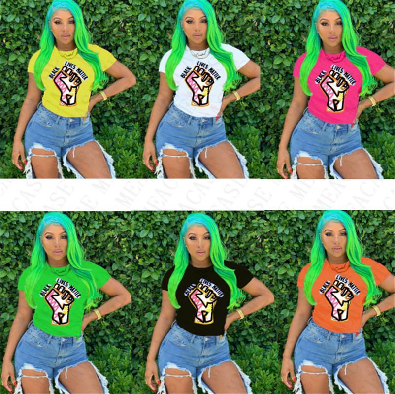 BLACK LIVES MATTER Women T-shirt Designer Cartoon Fashion Round Neck Tops Tees Short Sleeves Tshirt Plus Size T Shirt Clothing S-3XL D7805