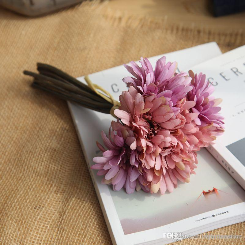 Segurando flores Party Favor Wedding Slik Artificial Daisy Flower Decoração real toque Gerbera Flores Indoor Bouquet Decor nupcial 2020