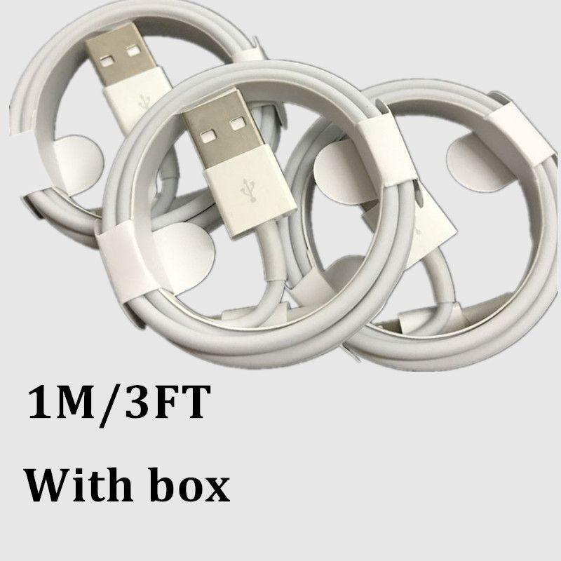 100pcs 1m 3 pés USB Data Sync Cable Carregador de alta qualidade para x 7 8 cabo com caixa