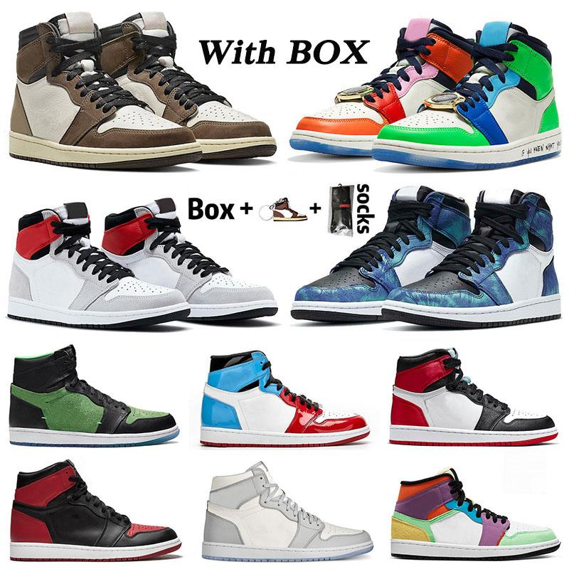 WITH BOX air jordan retro 1 aj jordans 1s Travis mens womens basketball shoes Fearless Light Smoke Grey Tie Dye Cactus Jack Chicago Trainers Sneakers SIZE 12