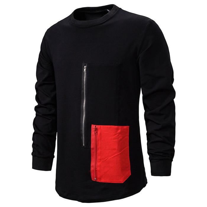 Pull Hommes Noir Zipper T-shirts Hommes Automne Hiver poches Patchwork manches longues T-shirts oversize Cool Man Tops rue