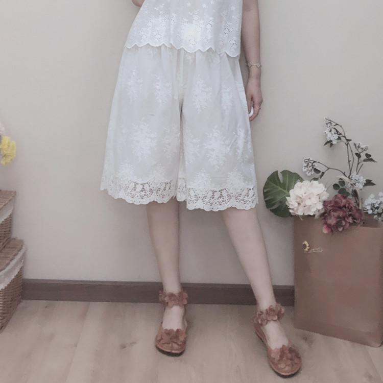 algodão bordado rendas lolita bordados calças curtas largura da perna