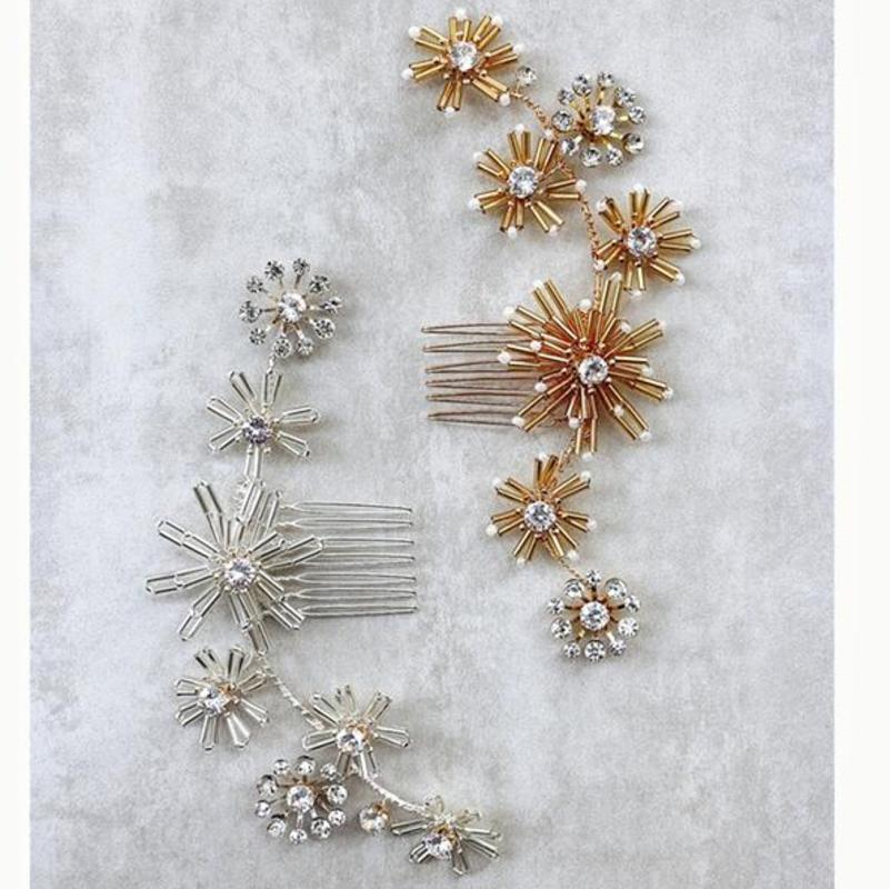 Düğün Aksesuarları Çiçek Çiçek Saç iğneler Combs Rhinestones headpieces İçin Kadınlar Kız Gelinler Headdress Gelin Takı