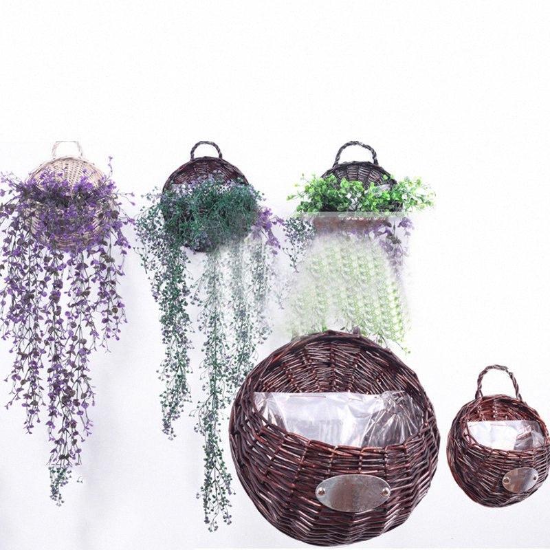 Природные плетеная Цветочные корзины Гобелен горшок плантатор Rattan Vase Корзина Декор Главная сада zir1 #