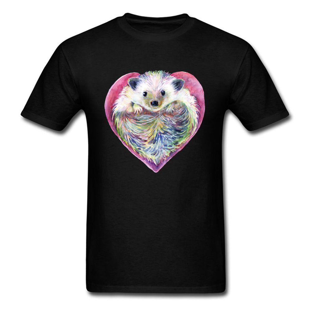 Kirpi Kalp Tişört Erkekler Tişörtlü Sevgililer Hediye Tişört Kadın Cuteness Kawaii Karikatür Tees Kumaş Siyah Elbise Cotton Tops