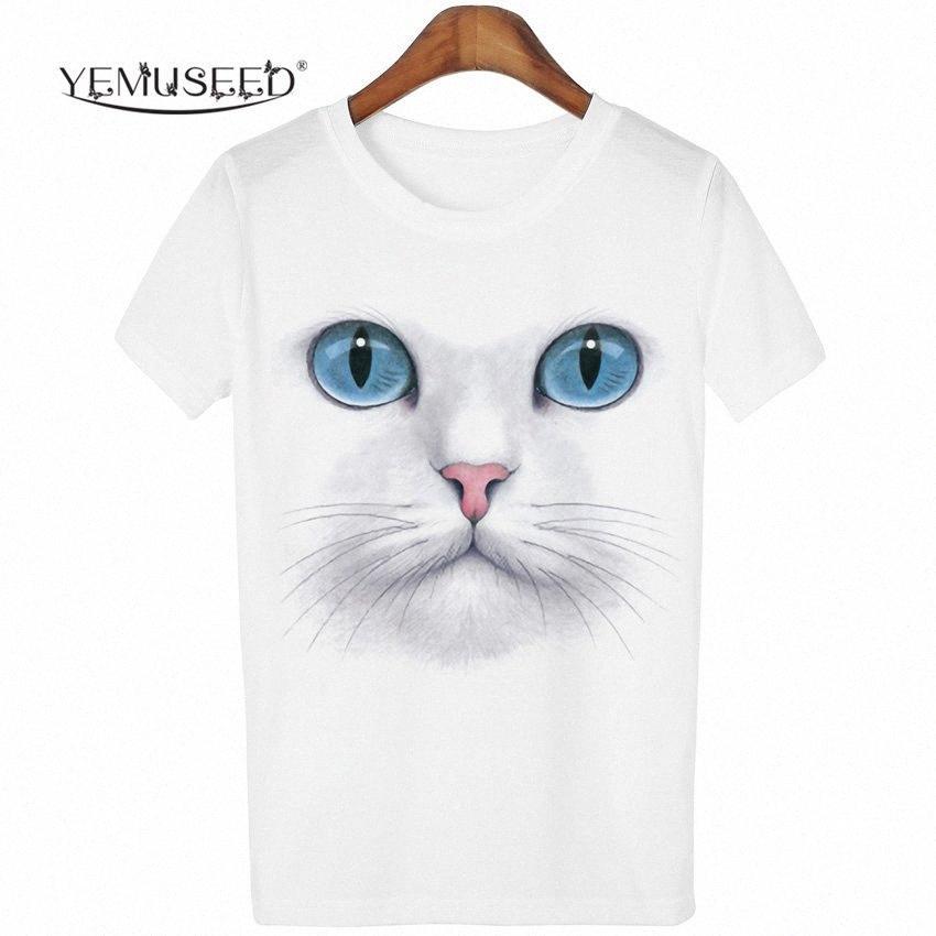 Atacado YEMUSEED 3D Tops Cat Harajuku Camiseta Mulheres shirt Kawaii Blusa Tumblr T Casual Tees Plus Size XL n1uz #