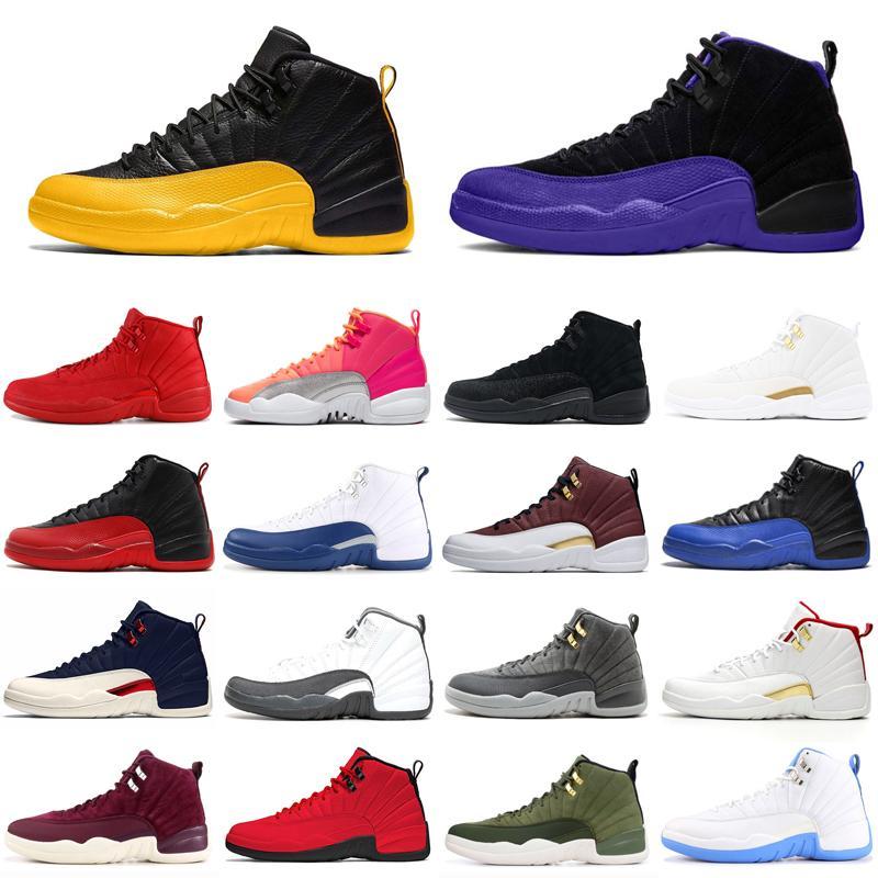 12 12s Scarpe Uomo di pallacanestro dell'Università Oro Jumpman scuro Concord Grey FIBA gioco Royal Hot Punch Mens Trainer Sport Sneakers 7-13