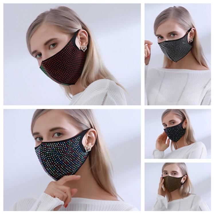 Искусственный алмаз маска моющийся многоразовый маска Защитная маска Sequins Красочный Стразы Face Mask Дизайнерские Маски T2I51273