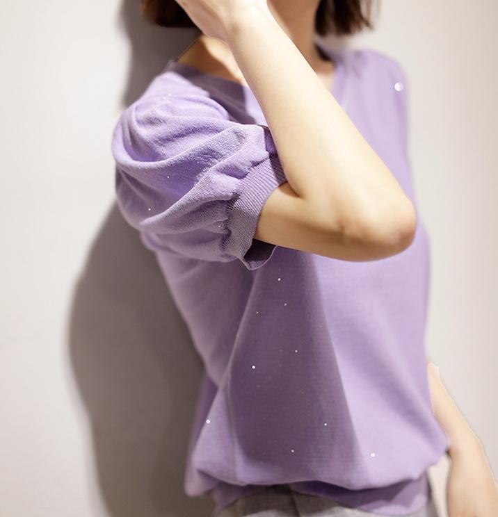 Knock paillettes semplici raccomandati facile da indossare alta sensibilità JI ~ paillettes impreziosito estate maglieria sciolto a maniche corte