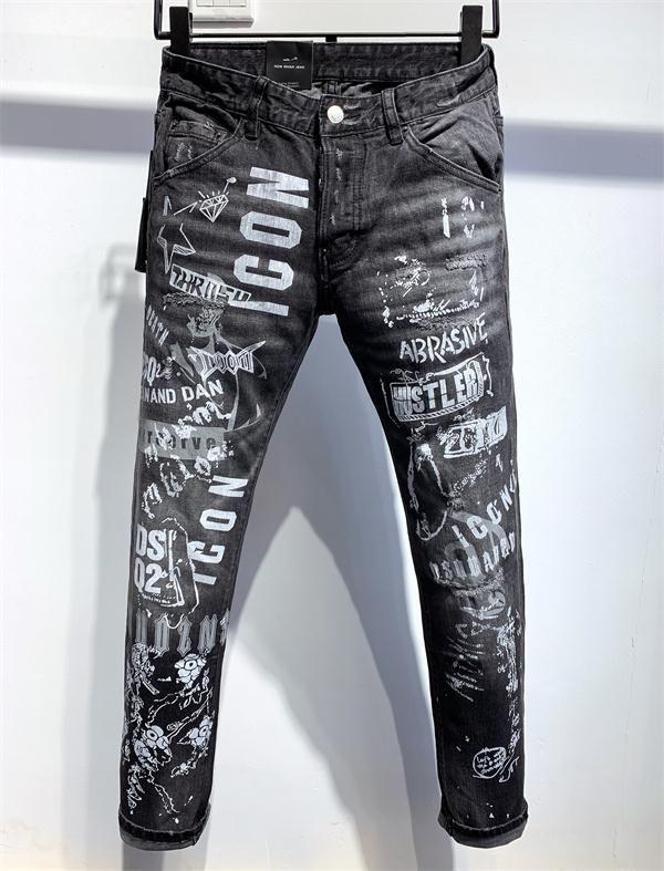 20ss Marka Moda Tasarımcısı Ripped Biker Erkek gündelik Jeans Slim Fit Biker Motosiklet Denim İçin Man S Siyah motosiklet kaya canlanma jean QA26