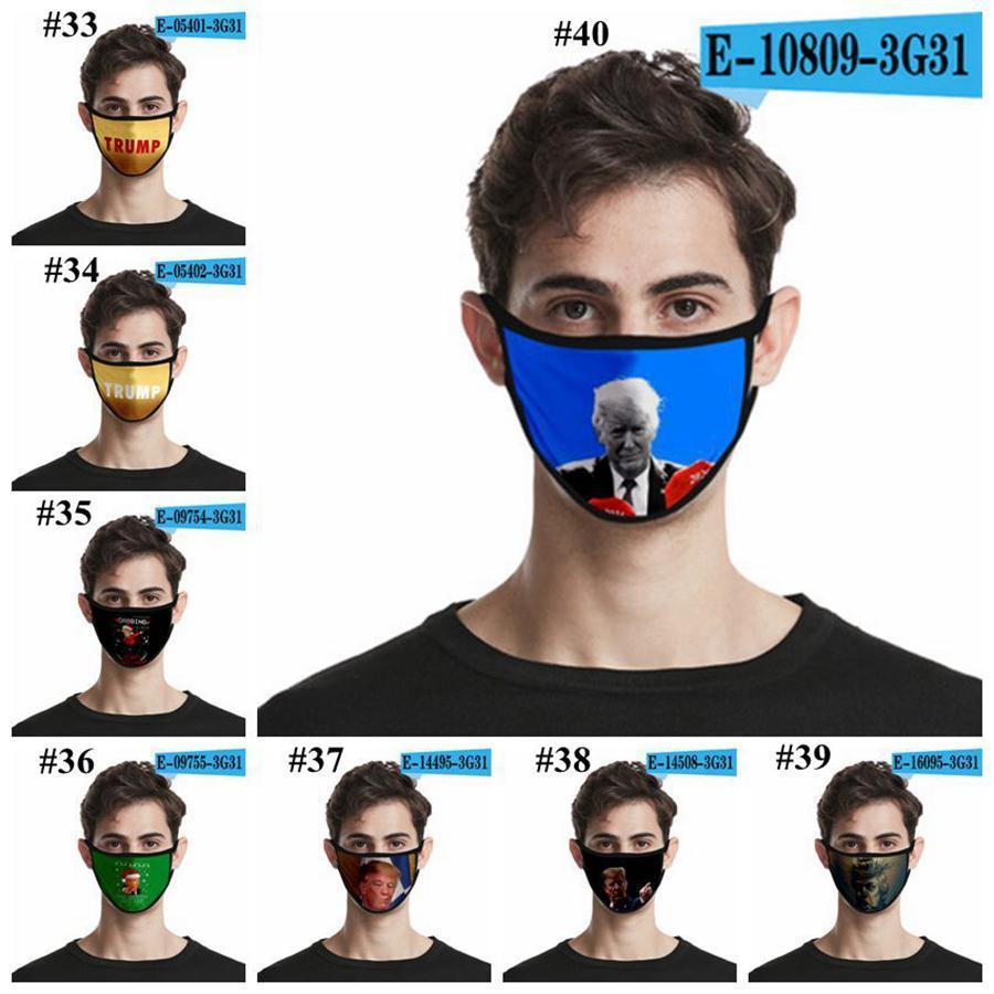 Trump maschera viso 40 Stili 3D stampato seta del ghiaccio Adulti Bambini Moda maschere Outdoor antipolvere lavabile Bocca della copertura della mascherina del partito