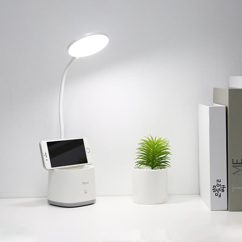 테이블 램프 침실 침대 옆 램프 펜 홀더 스토리지 (10203)를 읽고 LED 충전식 작은 램프 눈 보호 데스크 학생 기숙사