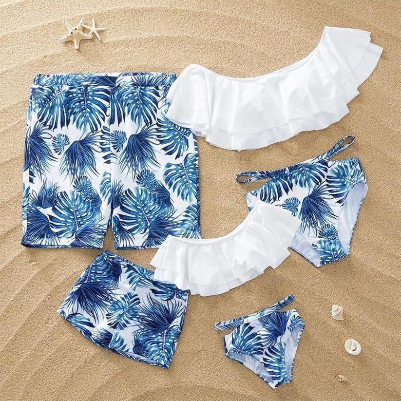Matching Family Mother Girl Bikini Women Swimsuit For Mom And Daughter Swimsuits Female Children Baby Kid Boy Beach Swimwear