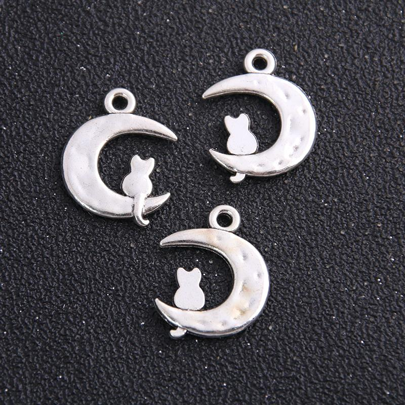 100pcs de plata tibetano de la luna del gato pendiente del encanto joyería animal linda del encanto hecho a mano regalo para la joyería que hace 17x24mm