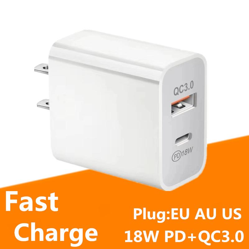 EU / US / AU-Plug PD + QC 3.0 Fast Charging Mobiltelefon Ladegerät Typ-C 18W PD-Ladegerät Multi-Plug für Samsung Note 10 S10 HTC LG