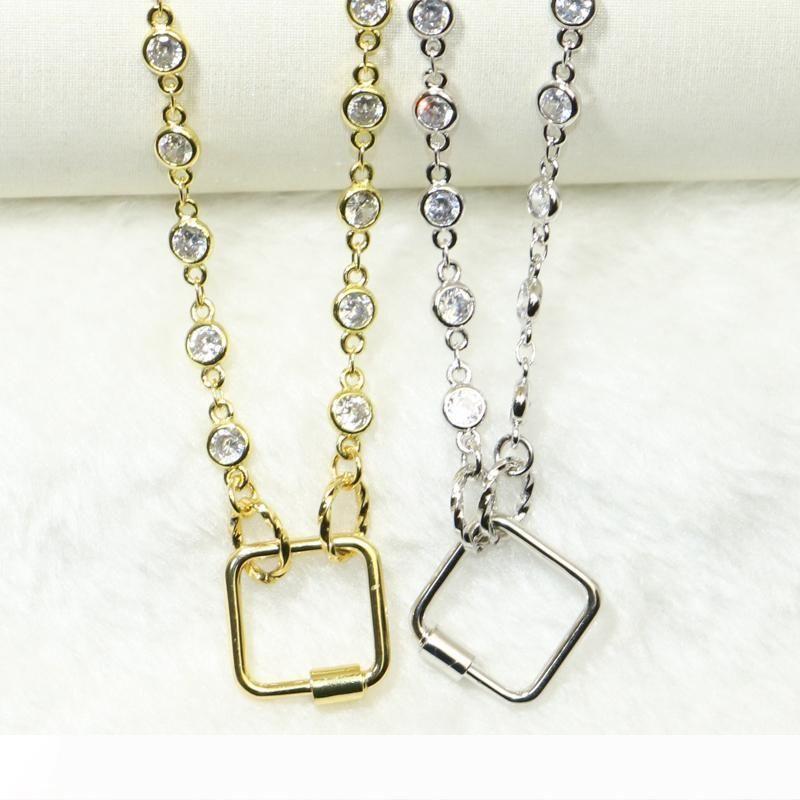 Kadınların 50642 için kadın moda takı için 3adet Kare şekli cıvata kolye kolye yüksek kaliteli tutmak renk metal Acessories