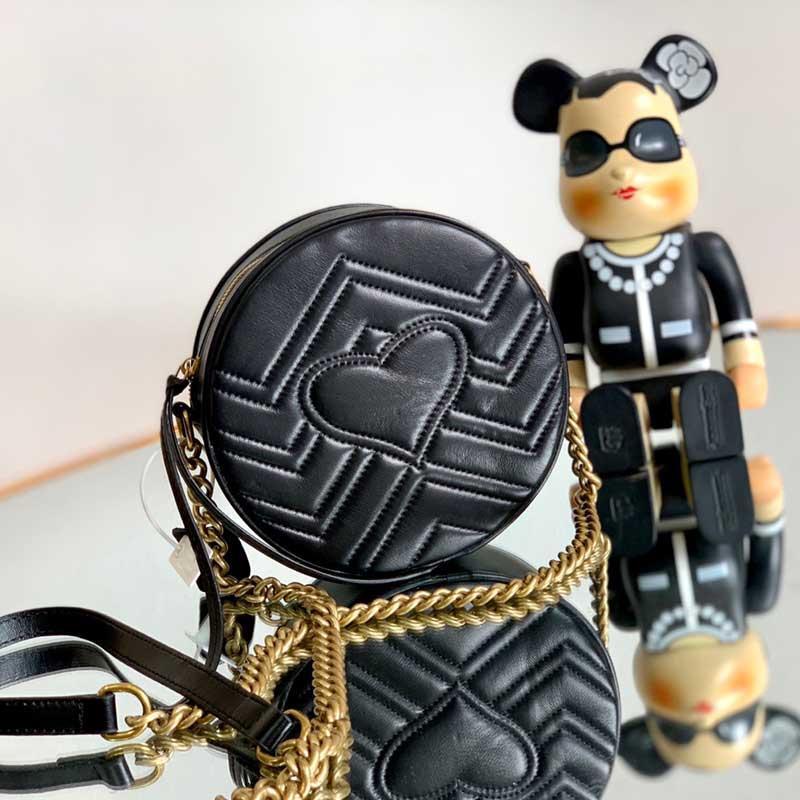 Круглые сумки женские сумки цепь подлинный Crossbody черная мода кожаная сумка сумка высокого качества коробка кошелек на плечо
