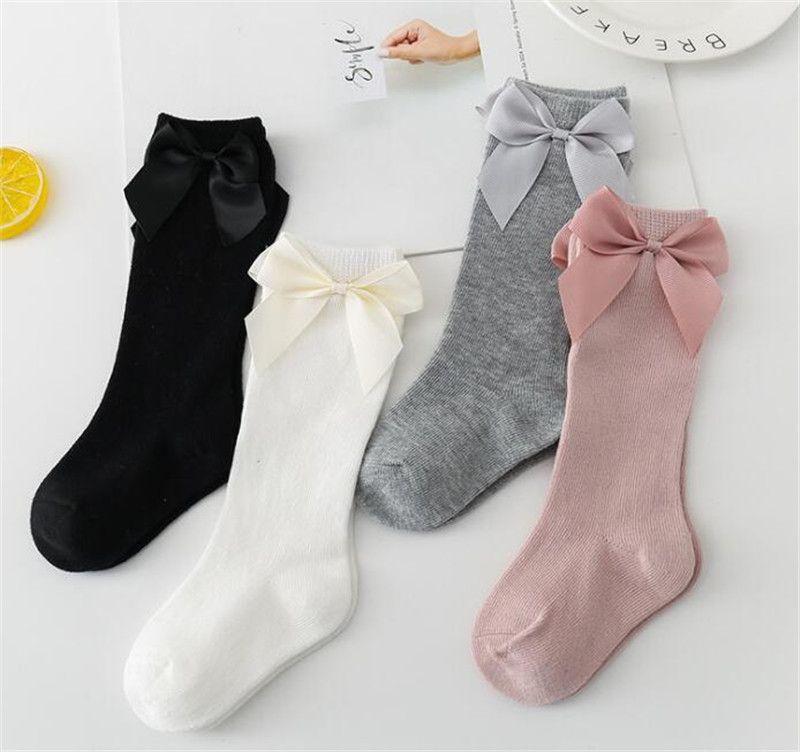INS Kids Toddler Cotton Socks Big Bow Mid Level Long Stockings Boys Girls Infants Newborn Chidlren Floor Shoes Solid Sock Slipper LY728-2