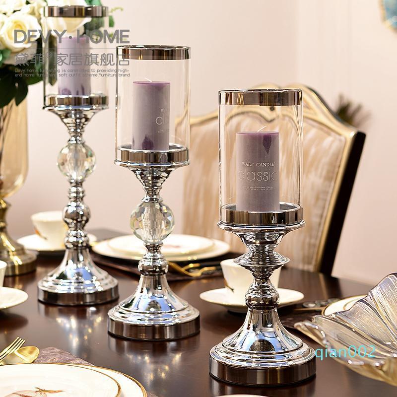 De estilo europeo, adornos de hogar moderno de vidrio candelabro de metal creativa sala de mesa Decoración SH190924