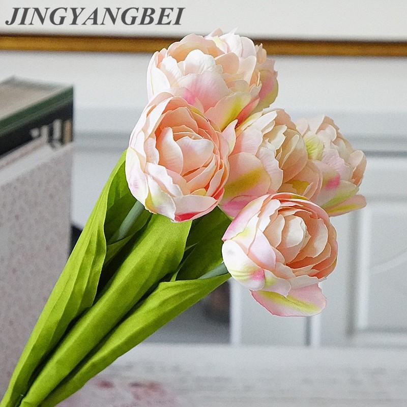 6 Kopf Seide Tulpe Bouquet Künstliche Blumen für Haus-Partei-Hochzeit Weihnachtsdekoration künstlicher Blumen photography dekorativen