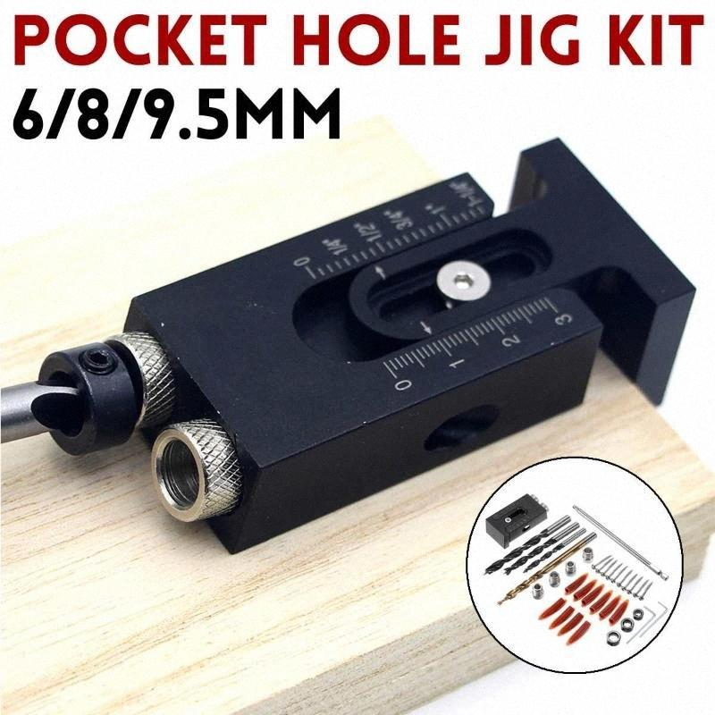 6/8 / 9,5 mm Kit de Sistema de bolsillo agujero plantilla ajustable aleación de aluminio oblicua orificio de posicionamiento Localizador de guía de taladrado herramienta de la carpintería crbg #