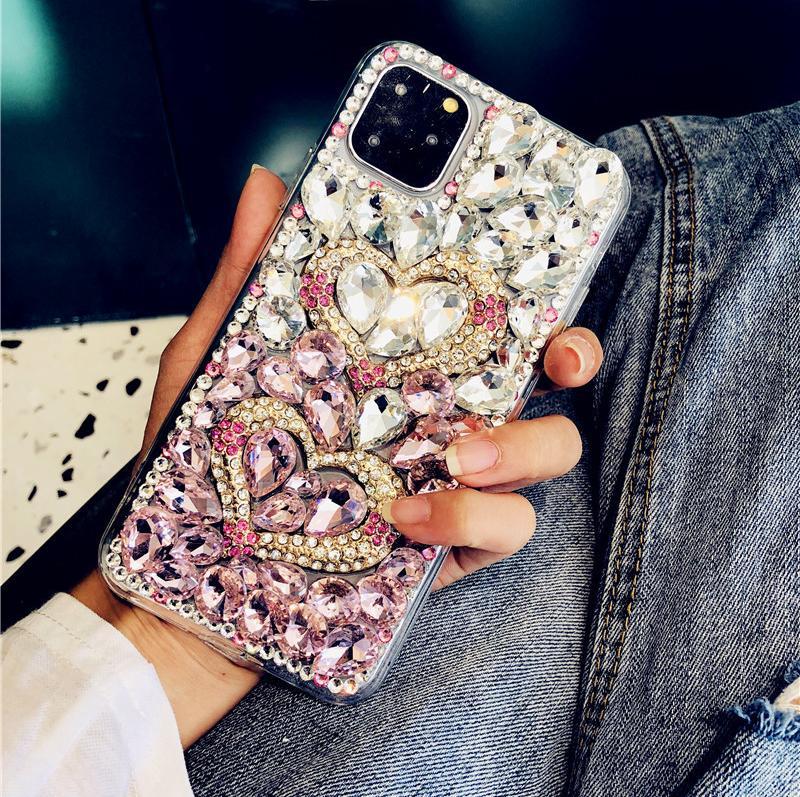 casos de telefone de luxo designer de diamante para iphone11 xs pro max xr 7 8plus Cristal gradiente cobertura strass volta completa para Samsung S10 mais