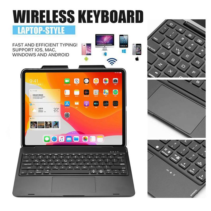 Smart 7 Colors LED Backlit Wireless Bluetooth Touchpad Flip Keyboard Case Stand Cover with Pencil Holder for iPad Pro 12.9 2018 2020