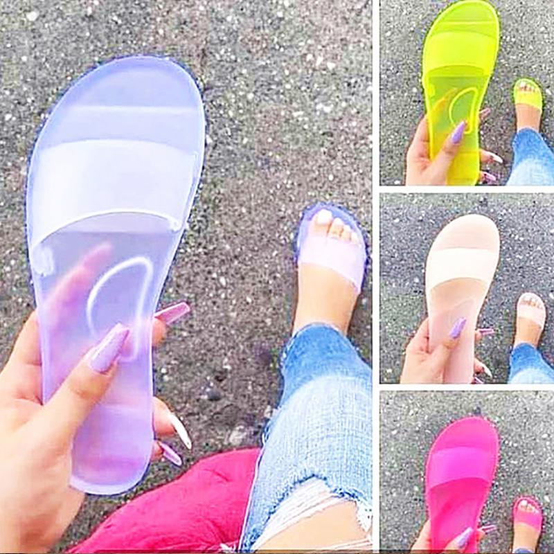 Pantofole donna 2020 signore diapositive modo trasparente di cristallo della donna scarpe femminili Pantofole Lady spiaggia Infradito pattini degli appartamenti