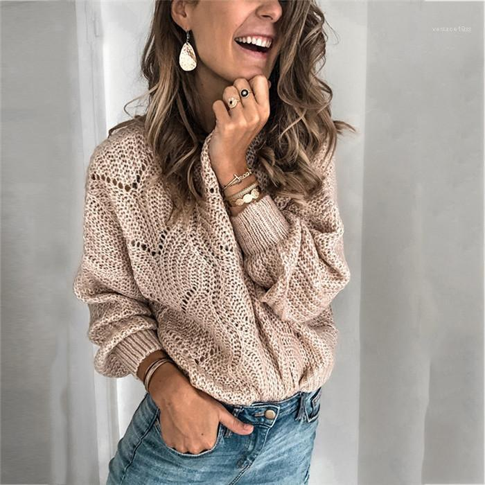 Sweater Spring Autumn Clothes Women Knitted Sweater Hollow Out Crew Neck Long Sleeve Loose