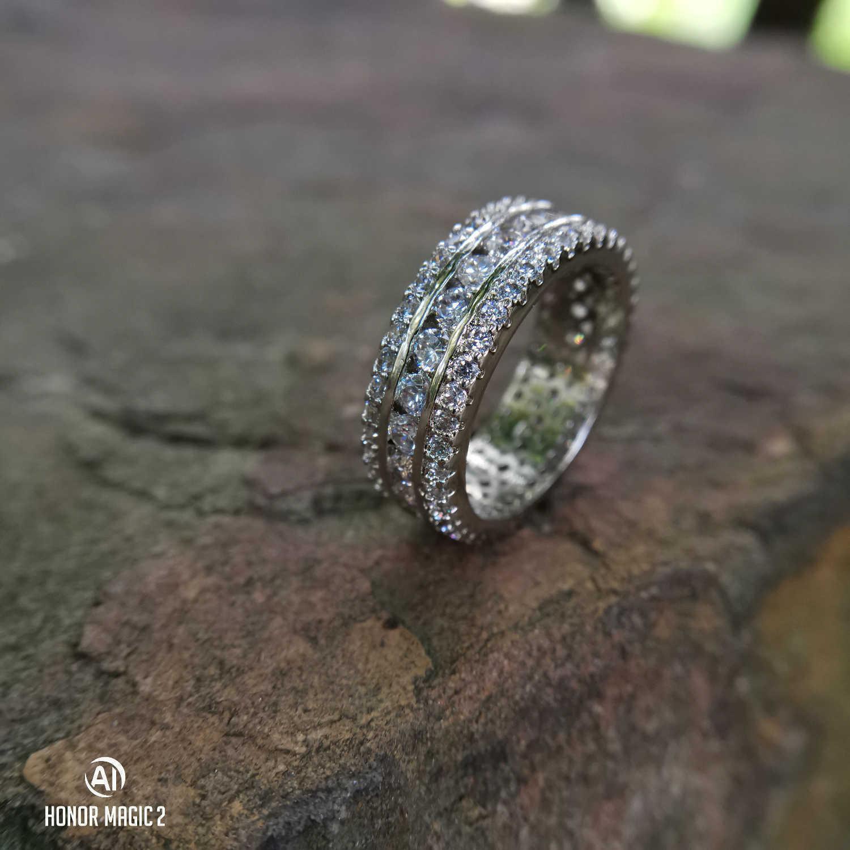 925 imitação anel de diamante por Mulheres full ring cristal para homens casamento de luxo designer de jóias tamanho 6 a 10 com caixa de presente