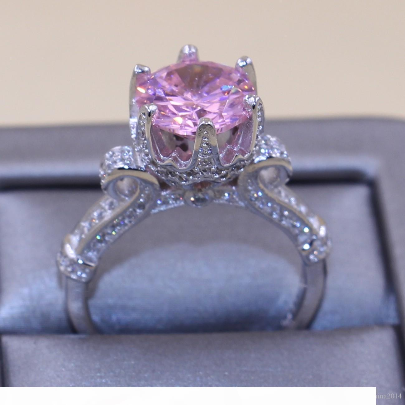 Victoria Wieck Solitaire 9mm Luxury Jewelry 925 Sterling Silver Round Cut Pink Sapphire CZ Diamond Women Wedding Crown Ring Gift Size 5-11