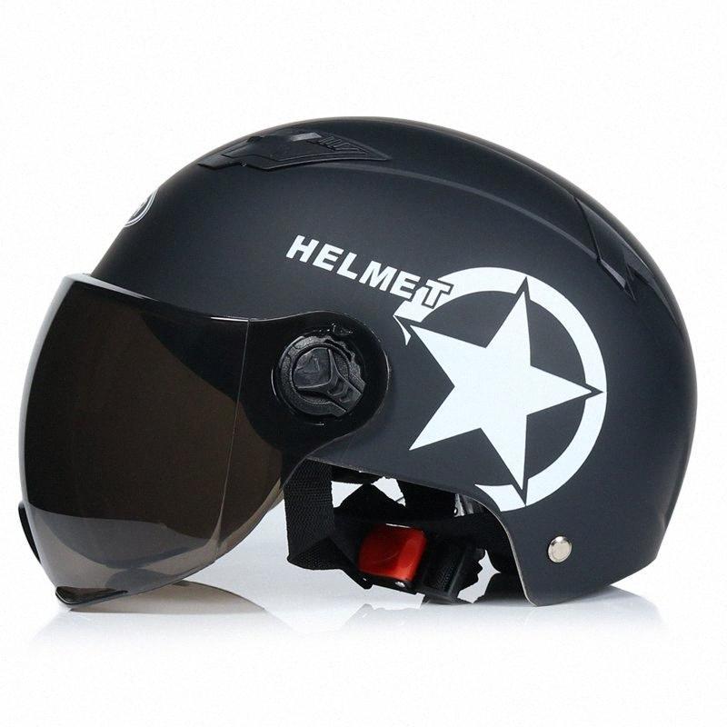 Casque de moto scooter de motocross de vélo Casque Open Face Half Casquette Anti UV Sécurité Casque dur multiple Couleur 56 60CM moto Dost #