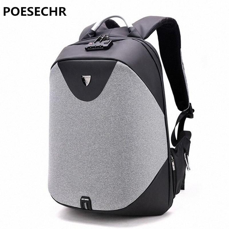POESECHR 15 Sac à dos pour ordinateur portable de charge externe USB d'ordinateur Sacs à dos Antivol Sacs imperméables pour homme femme Hydratation Sac à dos femmes Ok2z #