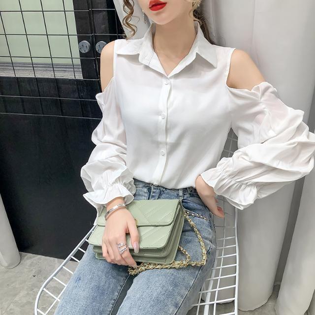 20200724 Sexy от верхней части плеча элегантного универсальной рубашки