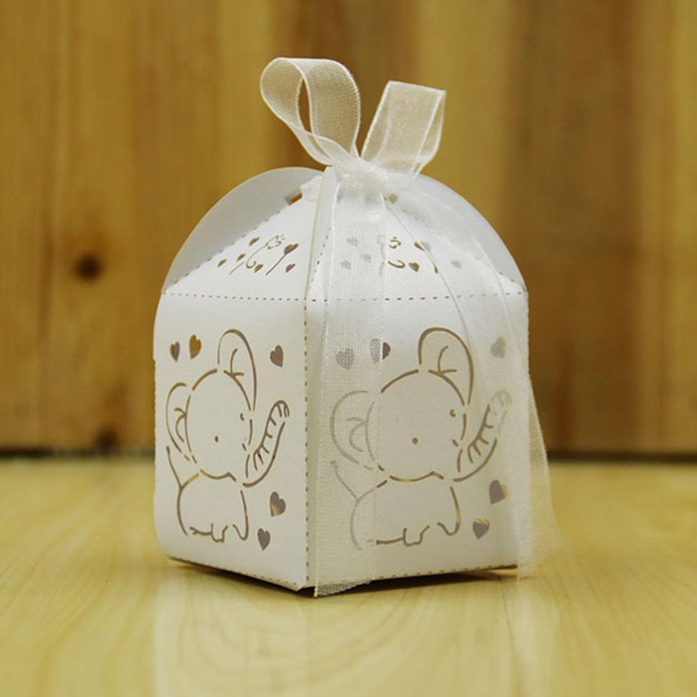 10 Pcs papier enfants évidé Elephant stockage avec ruban Pliable Birthday Party mignon décoratif Bonbonnière cadeau Pouch
