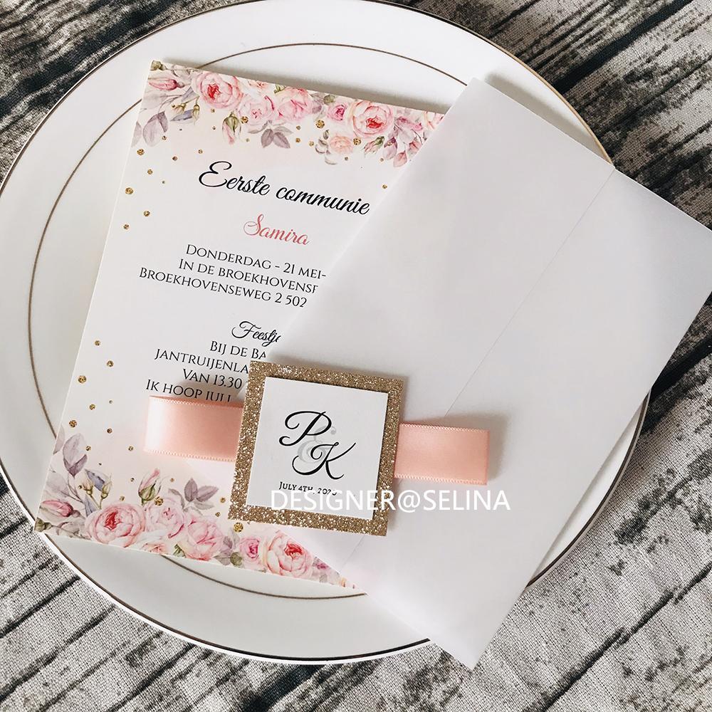 2020 NUEVA Llegada Impresión personalizada Villum Wedding Invitaciones con etiqueta y cinta brillantes, Editable Vellow Wrap Anniversary Fiesta Invitaciones