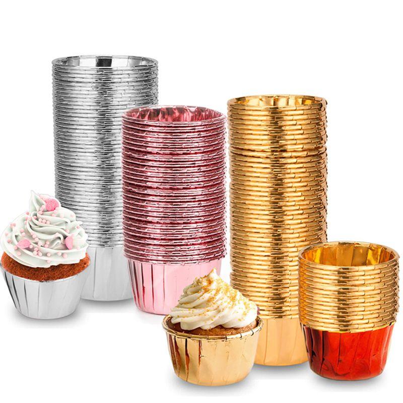 الألومنيوم احباط كب كيك كأس هيمينغ الخبز المقاومة الصحة الكعك أكواب حامل الآمن 0 خبز وير اللون النقي 14tm C2