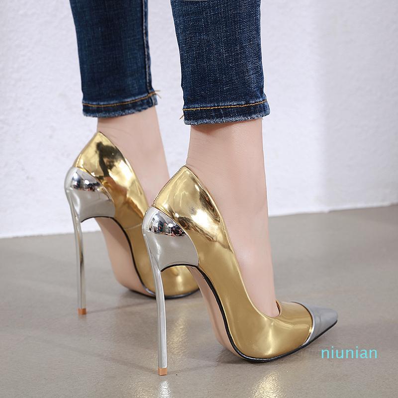 Горячая продажа размером от 35 до 42 супер звезда золото каблука пром обувь дизайнер каблуки стилет каблук насосы моды роскошь дизайнер женской обуви 12 см