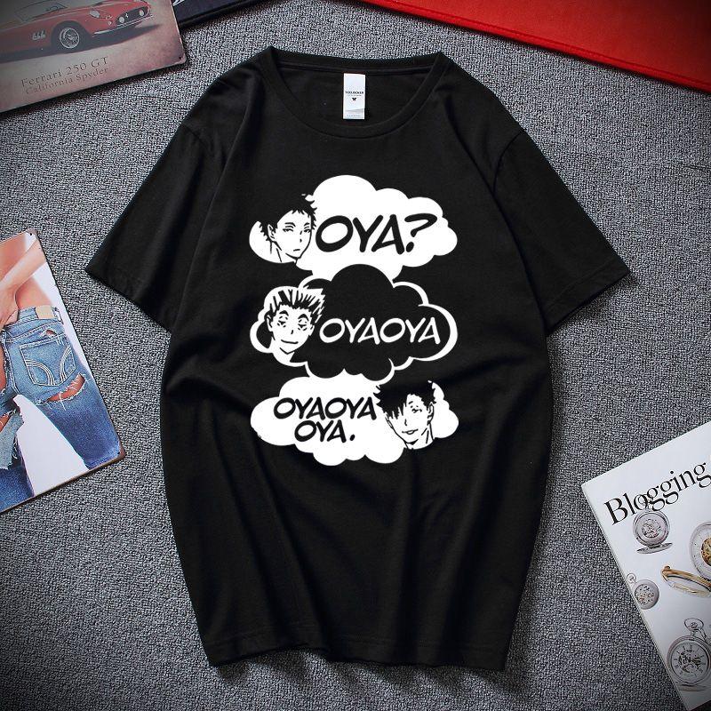Oya Oya Oya Haikyuu uomini della maglietta Kuroo Anime Manga Bokken Shoyo Pallavolo creativo Tee Shirt manica corta T-shirt in cotone 100%