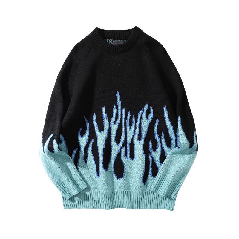 Maglione Uomini Streetwear Retro Fiamma modello Hip Hop Maglioni Spandex O-collo oversize Coppia casual Abbigliamento Uomo Autunno Nuovo