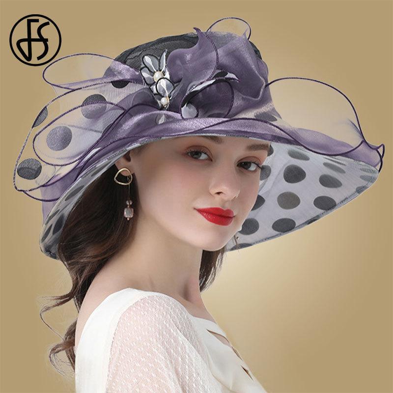 FS Pink Red Flower Ladies Church Hats Summer Large Wide Brim Fedora Hat For Women Organza Hat Beach Sun Kentucky Derby Hat Y200716