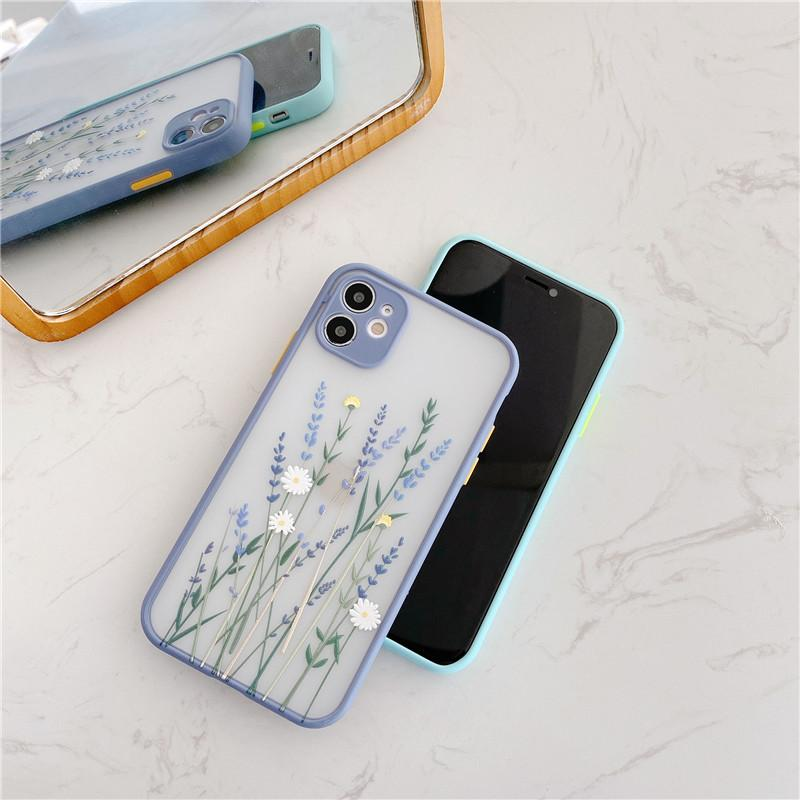 Iphone 11 Profall Blumen-Telefon-Kasten für Iphone 11 Pro Max 7 8 Plus X XR XS Max Back Cover Luxus Farbe Thick Border Weiche Capa 2020