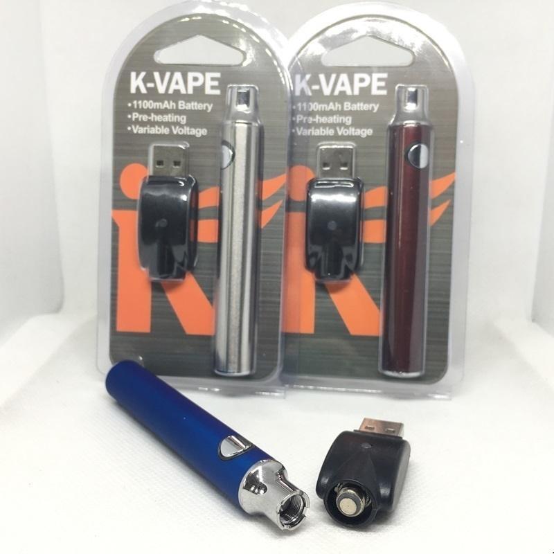 K-Vape Preheat VV Battery Blister Kit 1100mAh Variable Voltage Vape Battery E Cigarette 510 Thread With USB Charger For Oil Cartridge pens