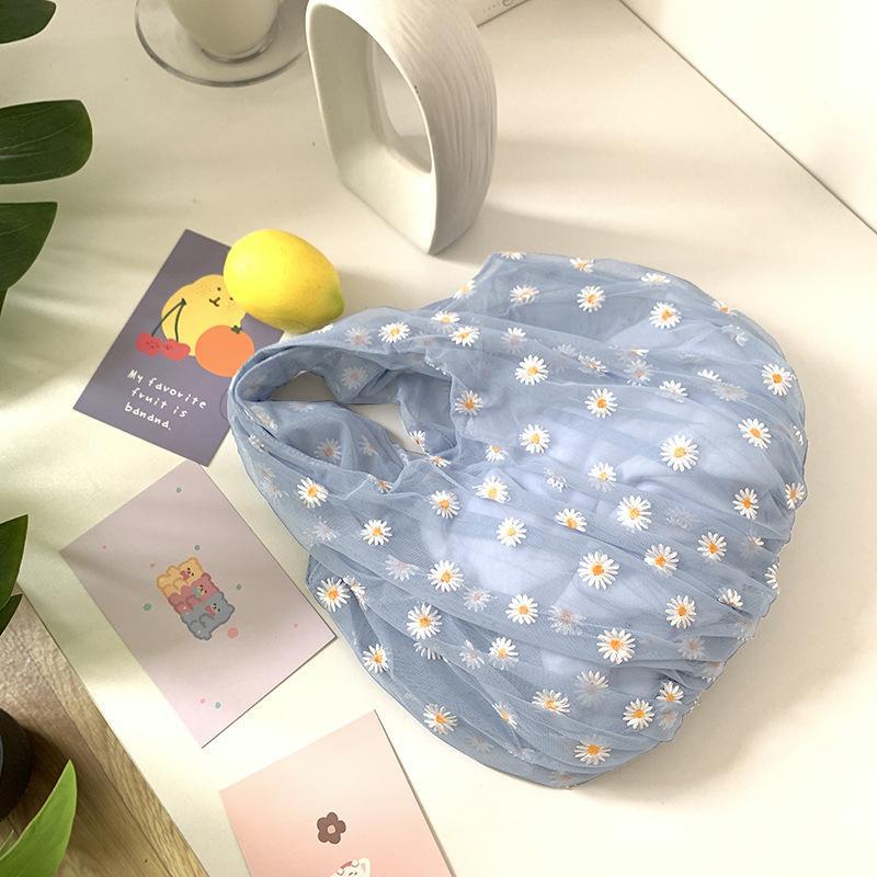 소녀 # 20을위한 여름 여성 한국어 패션 소프트 투명 토트 백 메쉬 천 데이지 자수 핸드백 블루 에코 꽃 가방 지갑