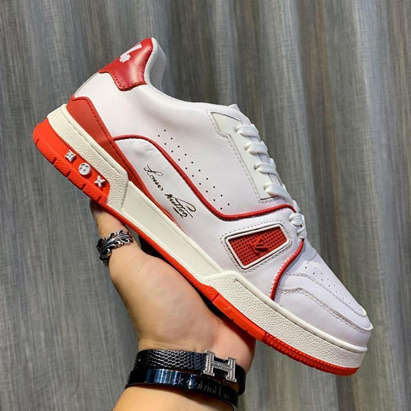 Kutu Zapatos De Hombre Dantel -Up Stil Lüks Desig ile Casual Trainer Sneaker Lüks Erkek Ayakkabı Deri Büyük Boy Nefes Boş Erkekler Ayakkabı