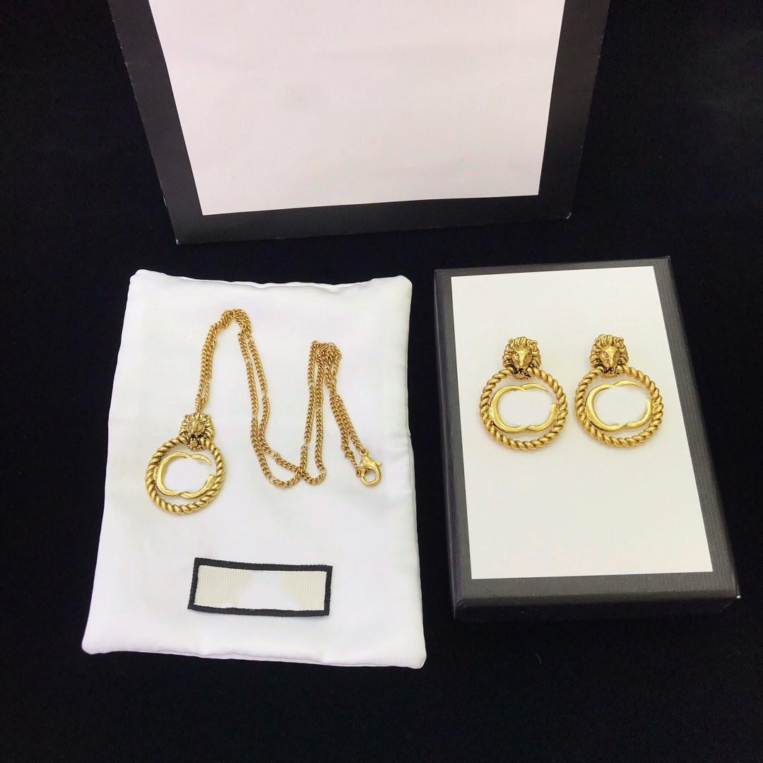 Brincos de bronze de alta qualidade colar de cabeça de tigre colar personalidade ouro banhado colar brincos para mulher e homem produtos